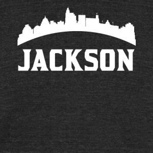 Vintage Style Skyline Of Jackson MS - Unisex Tri-Blend T-Shirt by American Apparel