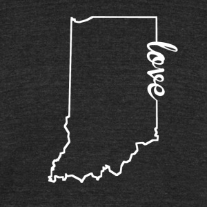 Indiana Love State Outline - Unisex Tri-Blend T-Shirt by American Apparel