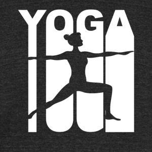 Vintage Style Warrior Two Yoga Pose Silhouette - Unisex Tri-Blend T-Shirt by American Apparel