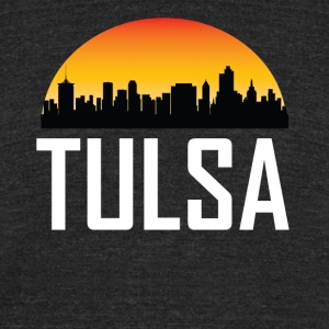 Sunset Skyline Silhouette of Tulsa OK - Unisex Tri-Blend T-Shirt by American Apparel
