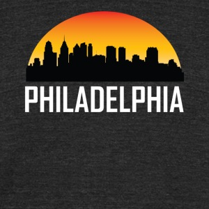 Sunset Skyline Silhouette of Philadelphia PA - Unisex Tri-Blend T-Shirt by American Apparel