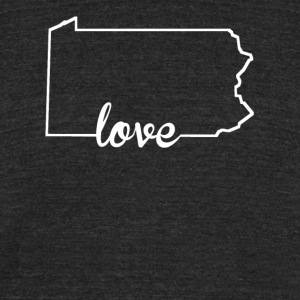 Pennsylvania Love State Outline - Unisex Tri-Blend T-Shirt by American Apparel