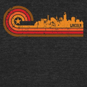 Retro Style Lincoln Nebraska Skyline Distressed - Unisex Tri-Blend T-Shirt by American Apparel