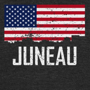 Juneau Alaska Skyline American Flag Distressed - Unisex Tri-Blend T-Shirt by American Apparel