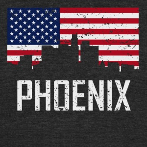 Phoenix Arizona Skyline American Flag Distressed - Unisex Tri-Blend T-Shirt by American Apparel