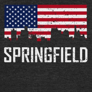 Springfield Illinois Skyline American Flag - Unisex Tri-Blend T-Shirt by American Apparel