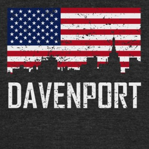 Davenport Iowa Skyline American Flag Distressed - Unisex Tri-Blend T-Shirt by American Apparel