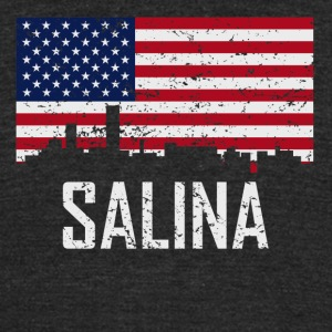 Salina Kansas Skyline American Flag Distressed - Unisex Tri-Blend T-Shirt by American Apparel
