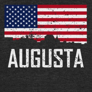 Augusta Maine Skyline American Flag Distressed - Unisex Tri-Blend T-Shirt by American Apparel