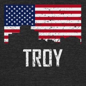 Troy Michigan Skyline American Flag Distressed - Unisex Tri-Blend T-Shirt by American Apparel