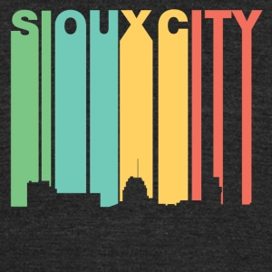 Retro 1970's Style Sioux City Iowa Skyline - Unisex Tri-Blend T-Shirt by American Apparel