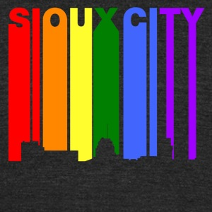 Sioux City Iowa Gay Pride Rainbow Skyline - Unisex Tri-Blend T-Shirt by American Apparel