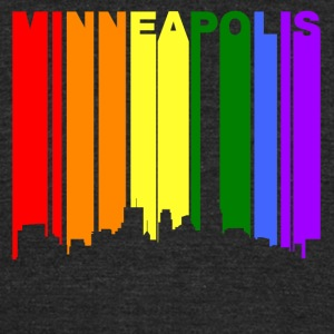 Minneapolis Minnesota Gay Pride Rainbow Skyline - Unisex Tri-Blend T-Shirt by American Apparel