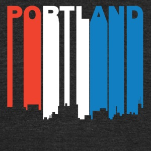 Red White And Blue Portland Maine Skyline - Unisex Tri-Blend T-Shirt by American Apparel