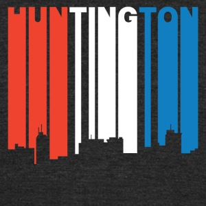 Red White Blue Huntington West Virginia Skyline - Unisex Tri-Blend T-Shirt by American Apparel