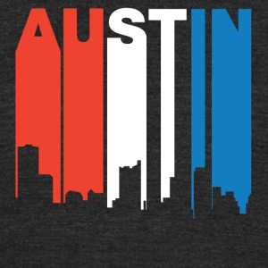 Red White And Blue Austin Texas Skyline - Unisex Tri-Blend T-Shirt by American Apparel