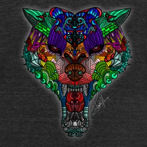 mandala wolf - Unisex Tri-Blend T-Shirt by American Apparel
