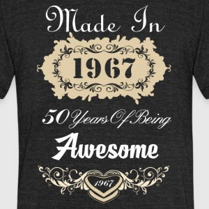 Made in 1967 50 years of being awesome - Unisex Tri-Blend T-Shirt by American Apparel