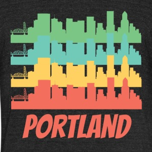Retro Portland OR Skyline Pop Art - Unisex Tri-Blend T-Shirt by American Apparel