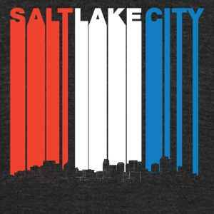Red White And Blue Salt Lake City Utah Skyline - Unisex Tri-Blend T-Shirt by American Apparel