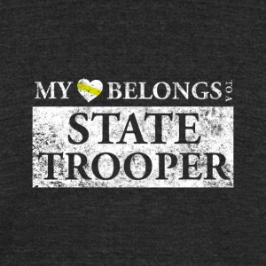 My Heart Belongs To A State Trooper T Shirt - Unisex Tri-Blend T-Shirt by American Apparel