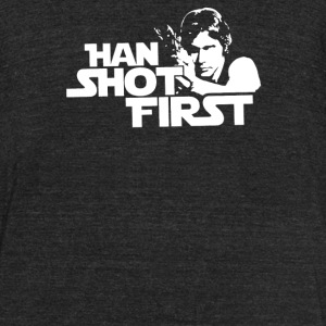 Shot First - Unisex Tri-Blend T-Shirt by American Apparel