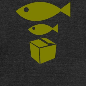 Big Fish Little Fish Cardboard Box - Unisex Tri-Blend T-Shirt by American Apparel