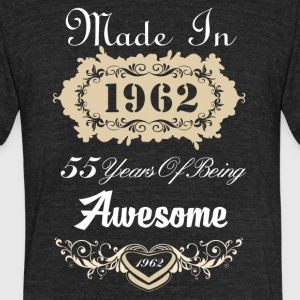 Made in 1962 55 years of being awesome - Unisex Tri-Blend T-Shirt by American Apparel
