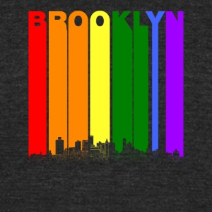Brooklyn New York Skyline Rainbow LGBT Gay Pride - Unisex Tri-Blend T-Shirt by American Apparel