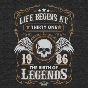 Life Begins At 1986 31 Years Old Birthday T-Shirt - Unisex Tri-Blend T-Shirt by American Apparel