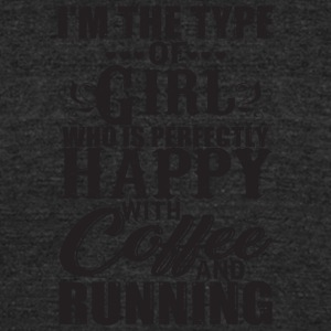 Girl Who Is Happy With Coffee And Running T Shirt - Unisex Tri-Blend T-Shirt by American Apparel