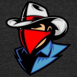 cowboy_with_blue_shirt_and_red_shawl - Unisex Tri-Blend T-Shirt by American Apparel