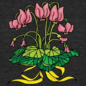 pink_flowers_with_yellow_line - Unisex Tri-Blend T-Shirt by American Apparel