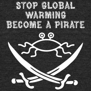 stop global warming and become a pirate FSM white - Unisex Tri-Blend T-Shirt by American Apparel
