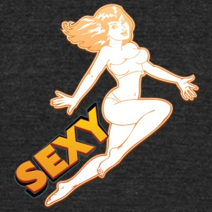 sexy_jumping_pin_up_girl - Unisex Tri-Blend T-Shirt by American Apparel