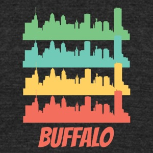 Retro Buffalo NY Skyline Pop Art - Unisex Tri-Blend T-Shirt by American Apparel