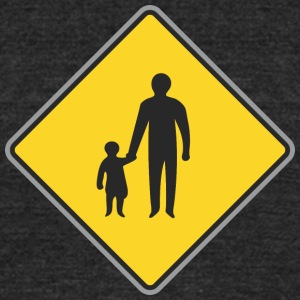 Road_Sign_man_with_child - Unisex Tri-Blend T-Shirt by American Apparel