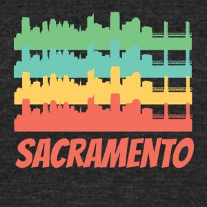 Retro Sacramento CA Skyline Pop Art - Unisex Tri-Blend T-Shirt by American Apparel