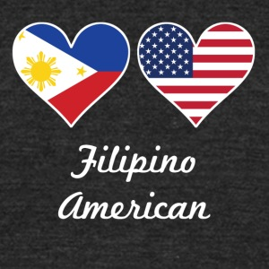 Filipino American Flag Hearts - Unisex Tri-Blend T-Shirt by American Apparel