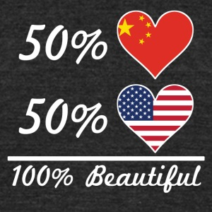50% Chinese 50% American 100% Beautiful - Unisex Tri-Blend T-Shirt by American Apparel