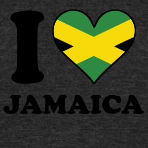 I Love Jamaica Jamaican Flag Heart - Unisex Tri-Blend T-Shirt by American Apparel