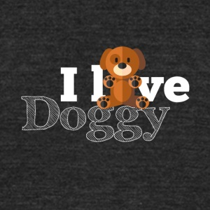 I love doggy - Unisex Tri-Blend T-Shirt by American Apparel