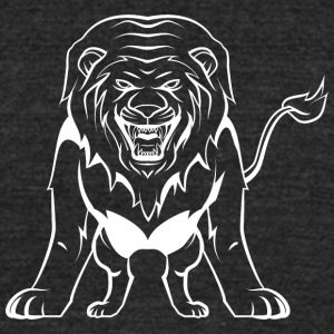 Direct_attacking_lion_white - Unisex Tri-Blend T-Shirt by American Apparel