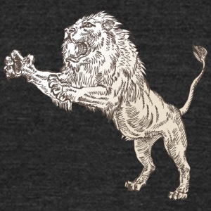 jumping_male_lion - Unisex Tri-Blend T-Shirt by American Apparel