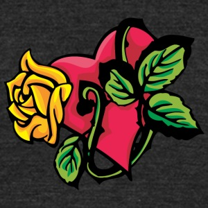 red_heart_and_yellow_rose - Unisex Tri-Blend T-Shirt by American Apparel