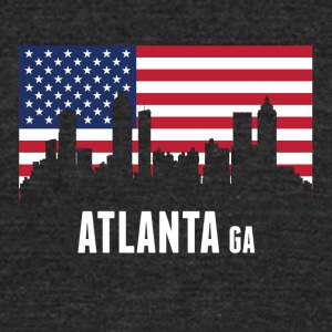 American Flag Atlanta Skyline - Unisex Tri-Blend T-Shirt by American Apparel
