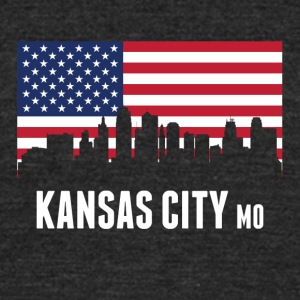 American Flag Kansas City Skyline - Unisex Tri-Blend T-Shirt by American Apparel