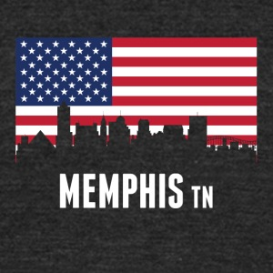 American Flag Memphis Skyline - Unisex Tri-Blend T-Shirt by American Apparel