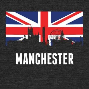British Flag Manchester Skyline - Unisex Tri-Blend T-Shirt by American Apparel