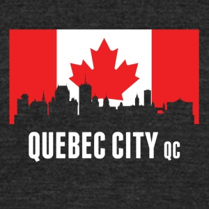Canadian Flag Quebec Skyline - Unisex Tri-Blend T-Shirt by American Apparel
